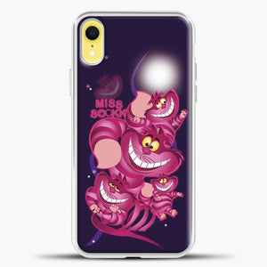 Cheshire Cat Purple Background And Pink Cat iPhone XR Case, White Plastic Case | casedilegna.com