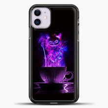 Load image into Gallery viewer, Cheshire Cat Smoke Purple iPhone 11 Case, Black Plastic Case | casedilegna.com