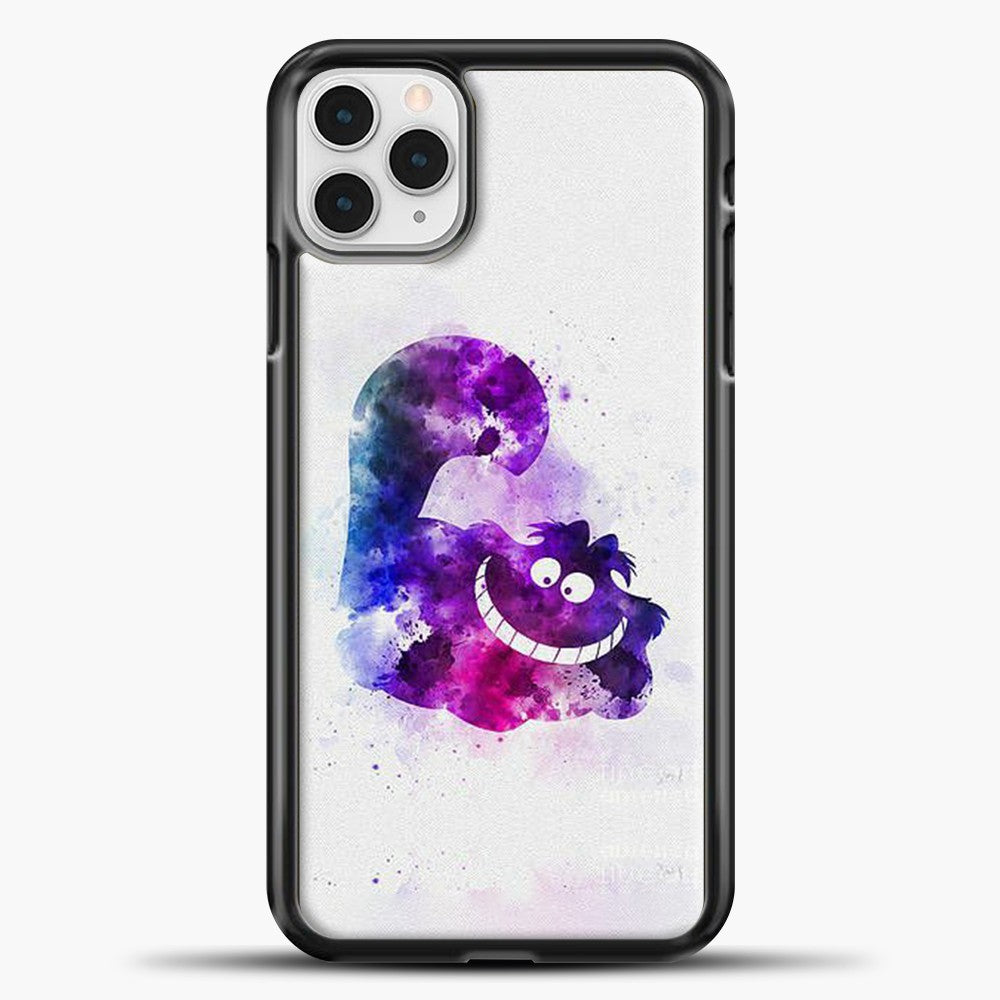 Cheshire Cat Watercolor Image iPhone 11 Pro Case, Black Plastic Case | casedilegna.com