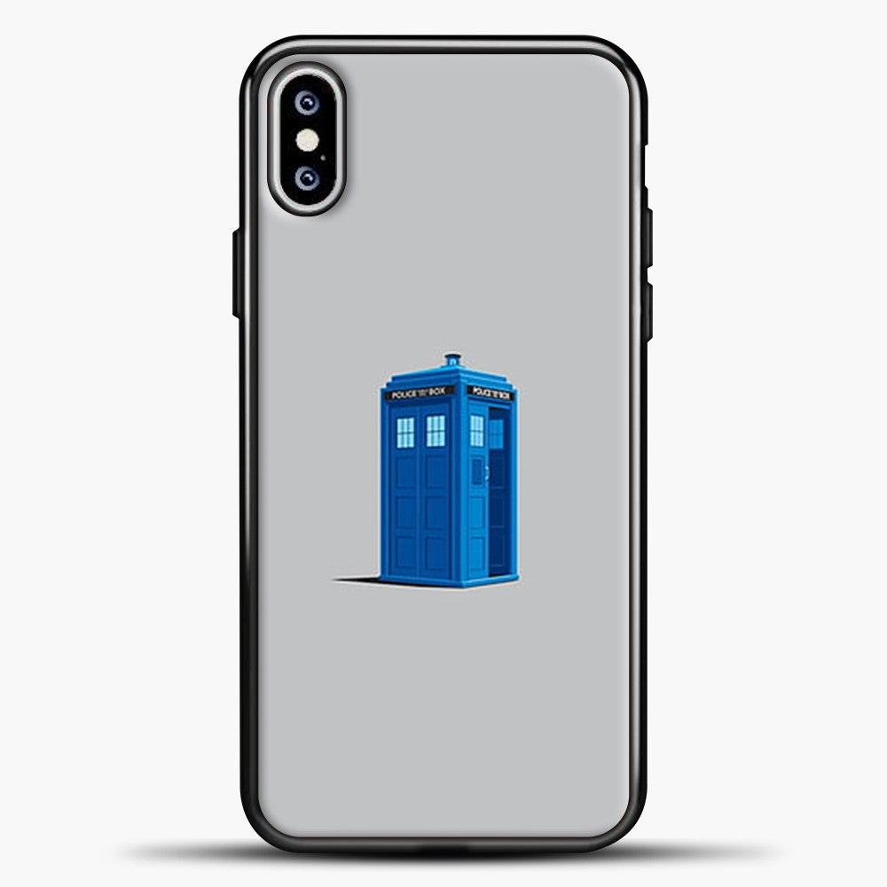 Doctor Who Tardis Grey Background iPhone XS Max Case, Black Plastic Case | casedilegna.com