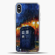 Load image into Gallery viewer, Doctor Who Tardis Watercolor Image iPhone XS Max Case, White Plastic Case | casedilegna.com