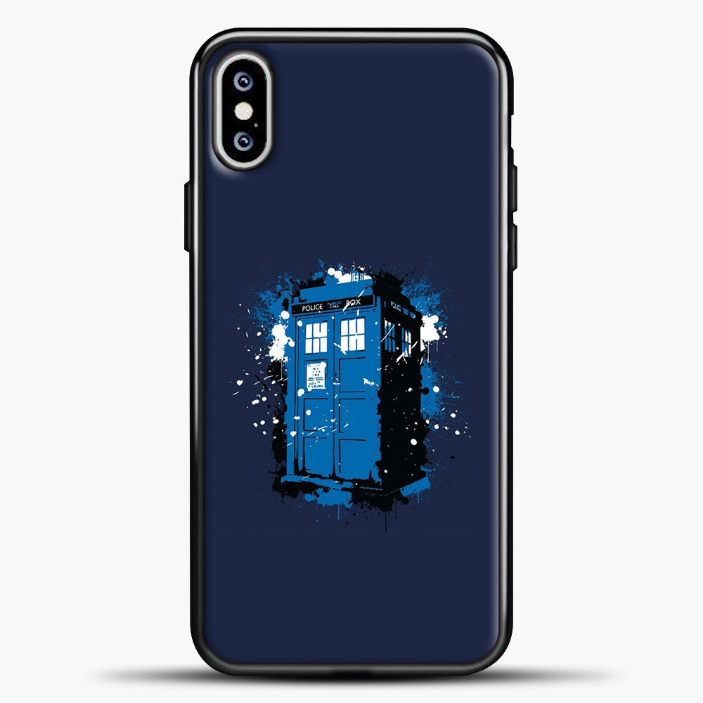 Doctor Who Tardis White Blue Splash iPhone XS Max Case, Black Plastic Case | casedilegna.com