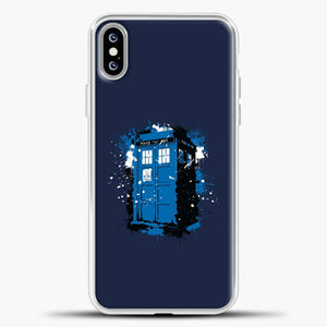 Doctor Who Tardis White Blue Splash iPhone XS Max Case, White Plastic Case | casedilegna.com