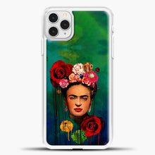 Load image into Gallery viewer, Frida Kahlo Gradient Background iPhone 11 Pro Case, White Plastic Case | casedilegna.com