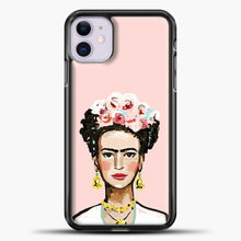 Load image into Gallery viewer, Frida Kahlo Pink Background iPhone 11 Case, Black Plastic Case | casedilegna.com