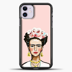 Frida Kahlo Pink Background iPhone 11 Case, Black Plastic Case | casedilegna.com