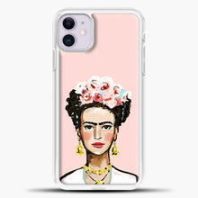 Load image into Gallery viewer, Frida Kahlo Pink Background iPhone 11 Case, White Plastic Case | casedilegna.com