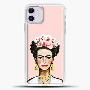 Frida Kahlo Pink Background iPhone 11 Case, White Plastic Case | casedilegna.com