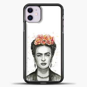 Frida Kahlo Splash Watercolor iPhone 11 Case, Black Plastic Case | casedilegna.com