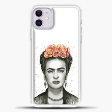 Load image into Gallery viewer, Frida Kahlo Splash Watercolor iPhone 11 Case, White Plastic Case | casedilegna.com