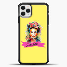 Load image into Gallery viewer, Frida Kahlo Yellow Background iPhone 11 Pro Case, Black Plastic Case | casedilegna.com