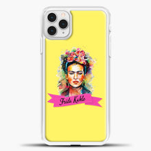 Load image into Gallery viewer, Frida Kahlo Yellow Background iPhone 11 Pro Case, White Plastic Case | casedilegna.com