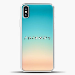 Friends Blue Gradient Background iPhone XS Max Case, White Plastic Case | casedilegna.com