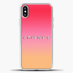 Friends Gradient Background iPhone XS Max Case, White Plastic Case | casedilegna.com