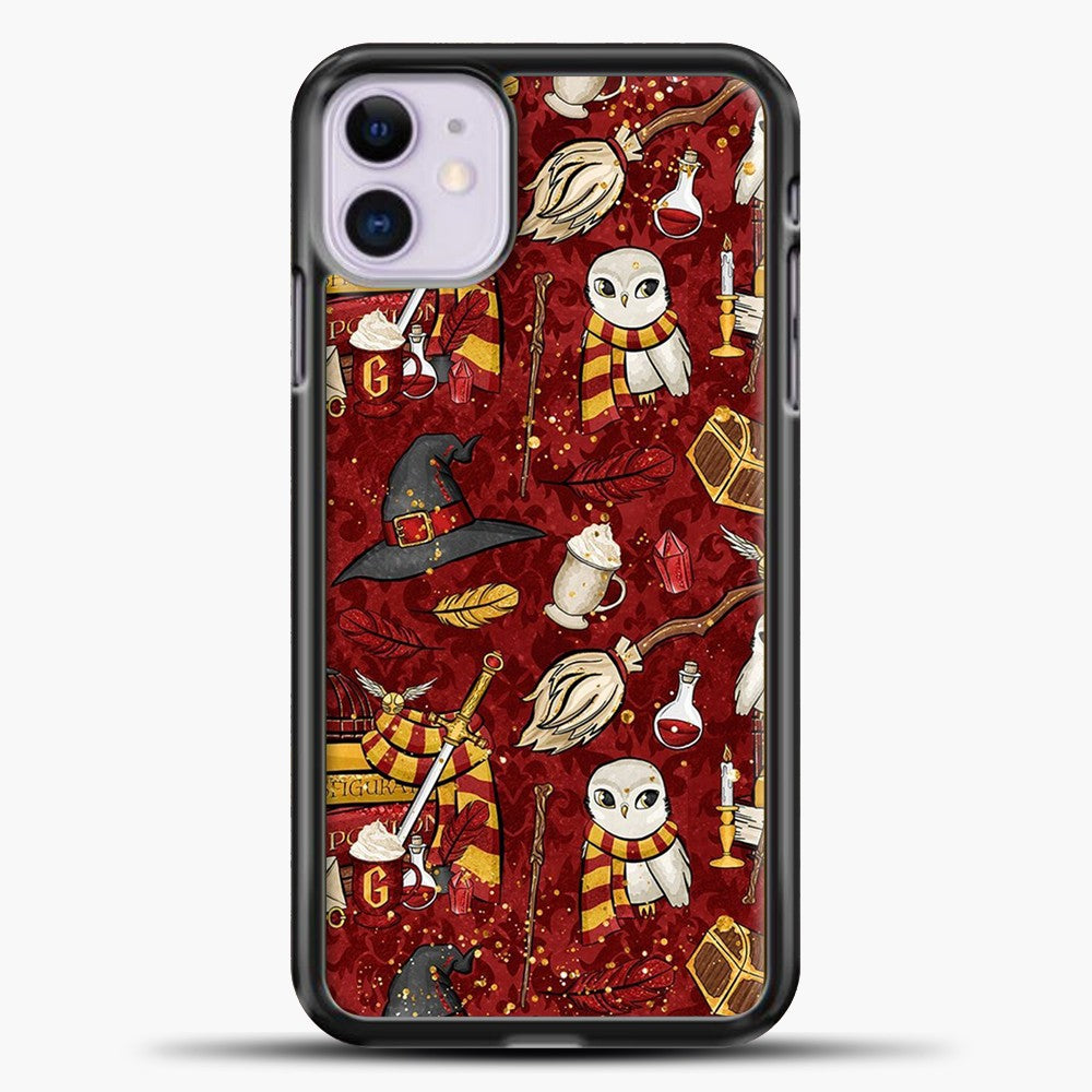 Gryffindor Maroon Pattern iPhone 11 Case, Black Plastic Case | casedilegna.com