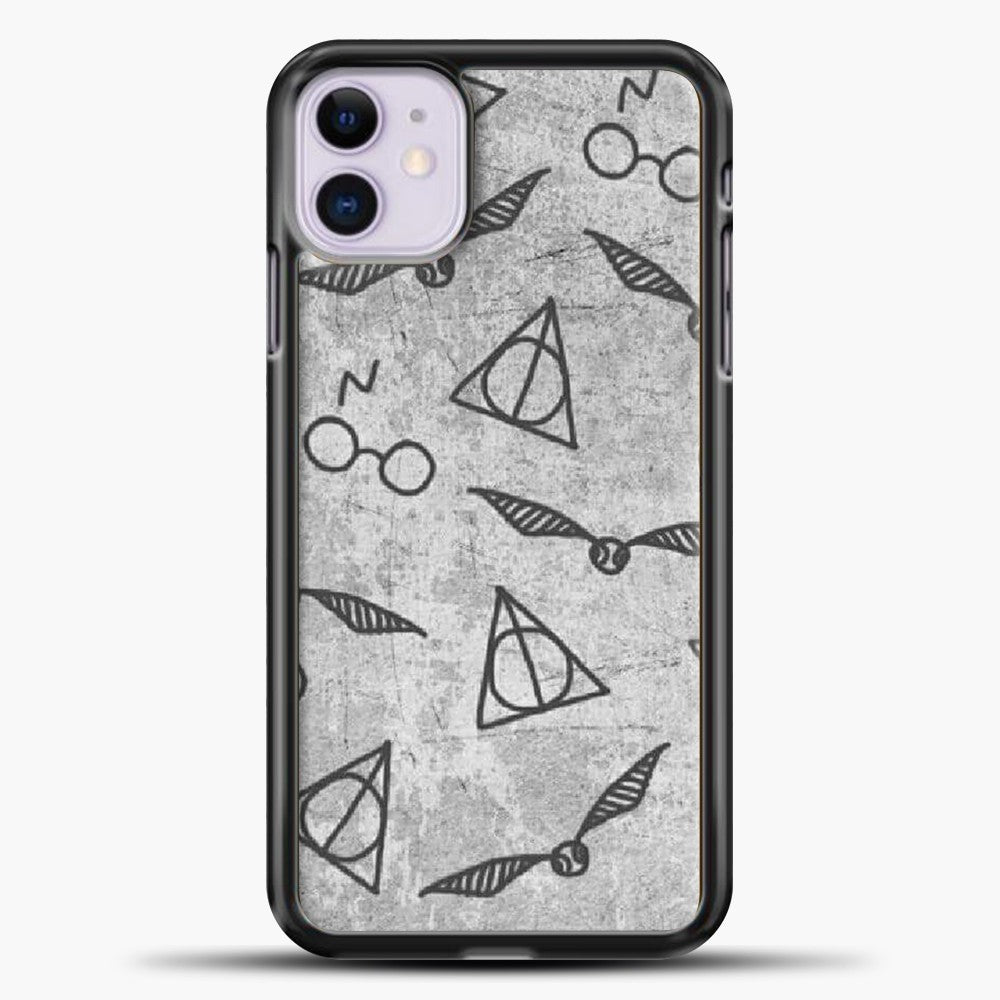 Gryffindor Pattern Grey iPhone 11 Case, Black Plastic Case | casedilegna.com