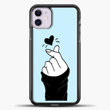 Load image into Gallery viewer, Hand Love Blue Background iPhone 11 Case, Black Plastic Case | casedilegna.com