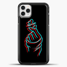 Load image into Gallery viewer, Hand Love Blue Red Sketch iPhone 11 Pro Case, Black Plastic Case | casedilegna.com