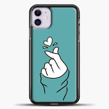 Load image into Gallery viewer, Hand Love Blue Wallpaper iPhone 11 Case, Black Plastic Case | casedilegna.com