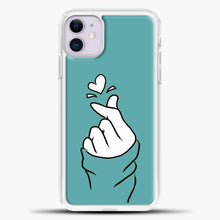Load image into Gallery viewer, Hand Love Blue Wallpaper iPhone 11 Case, White Plastic Case | casedilegna.com