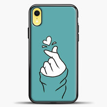 Load image into Gallery viewer, Hand Love Blue Wallpaper iPhone XR Case, Black Plastic Case | casedilegna.com