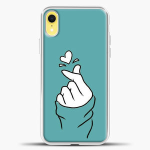 Hand Love Blue Wallpaper iPhone XR Case, White Plastic Case | casedilegna.com