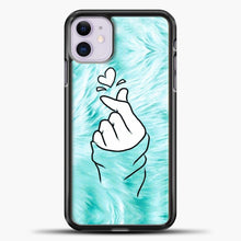 Load image into Gallery viewer, Hand Love Fur Blue Background iPhone 11 Case, Black Plastic Case | casedilegna.com