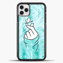 Load image into Gallery viewer, Hand Love Fur Blue Background iPhone 11 Pro Case, Black Plastic Case | casedilegna.com