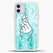 Load image into Gallery viewer, Hand Love Fur Blue Background iPhone 11 Case, White Plastic Case | casedilegna.com