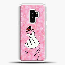 Load image into Gallery viewer, Hand Love Pink Glitter Background Samsung Galaxy S9 Plus Case, White Plastic Case | casedilegna.com