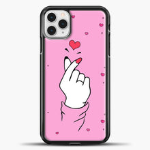 Load image into Gallery viewer, Hand Love Pink Heart Pattern iPhone 11 Pro Case, Black Plastic Case | casedilegna.com