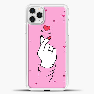 Hand Love Pink Heart Pattern iPhone 11 Pro Case, White Plastic Case | casedilegna.com