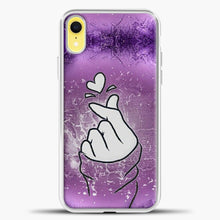 Load image into Gallery viewer, Hand Love Purple Background iPhone XR Case, White Plastic Case | casedilegna.com