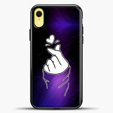 Load image into Gallery viewer, Hand Love Purple Black Background iPhone XR Case, Black Plastic Case | casedilegna.com
