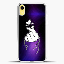 Load image into Gallery viewer, Hand Love Purple Black Background iPhone XR Case, White Plastic Case | casedilegna.com