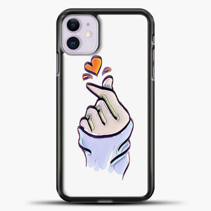 Hand Love Purple Image iPhone 11 Case, Black Plastic Case | casedilegna.com
