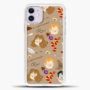 Harry Potter Pattern And Friend iPhone 11 Case, White Plastic Case | casedilegna.com