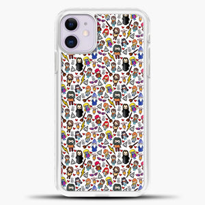 Harry Potter Pattern Drawing iPhone 11 Case, White Plastic Case | casedilegna.com