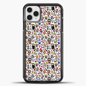 Harry Potter Pattern Drawing iPhone 11 Pro Case, Black Plastic Case | casedilegna.com