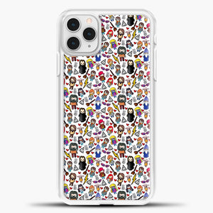 Harry Potter Pattern Drawing iPhone 11 Pro Case, White Plastic Case | casedilegna.com