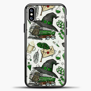 Harry Potter Pattern Green Image iPhone XS Max Case, Black Plastic Case | casedilegna.com