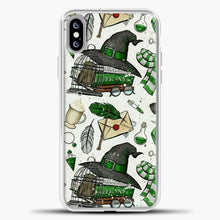 Load image into Gallery viewer, Harry Potter Pattern Green Image iPhone XS Max Case, White Plastic Case | casedilegna.com