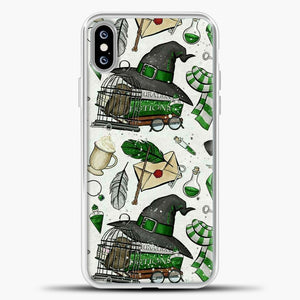 Harry Potter Pattern Green Image iPhone XS Max Case, White Plastic Case | casedilegna.com