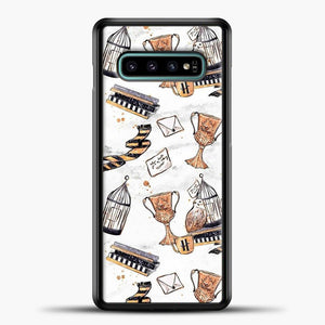 Harry Potter Pattern White Background Samsung Galaxy S10e Case, Black Plastic Case | casedilegna.com