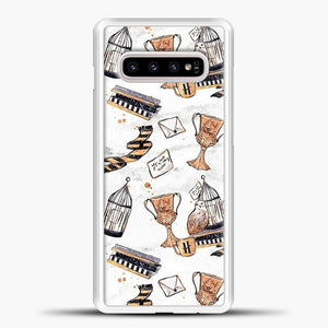 Harry Potter Pattern White Background Samsung Galaxy S10e Case, White Plastic Case | casedilegna.com