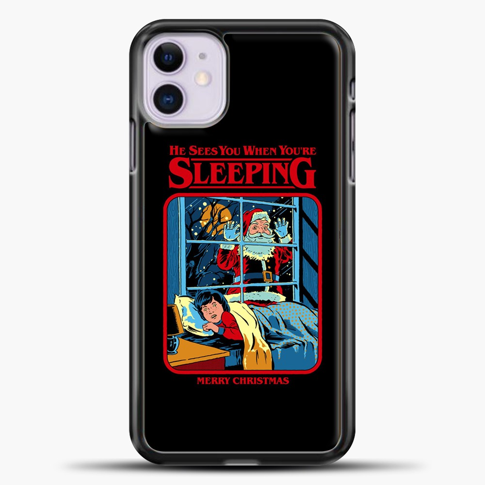 He Sees You When You're Sleeping iPhone 11 Case, Black Plastic Case | casedilegna.com