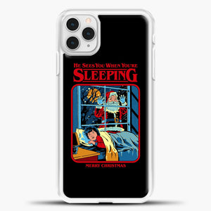 He Sees You When You're Sleeping iPhone 11 Pro Case, White Plastic Case | casedilegna.com