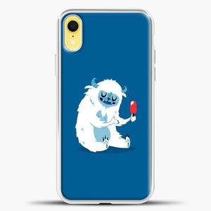 Lil Yeti Blue Background iPhone XR Case, White Plastic Case | casedilegna.com