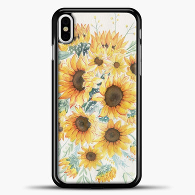 Loose Watercolor Sunflowers iPhone Case, Black Plastic Case | casedilegna.com