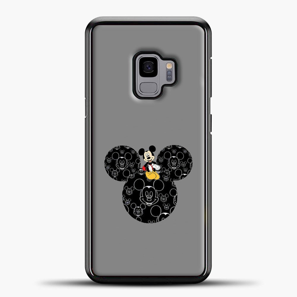 Mickey Mouse And Face Grey Background Samsung Galaxy S9 Case, Black Plastic Case | casedilegna.com